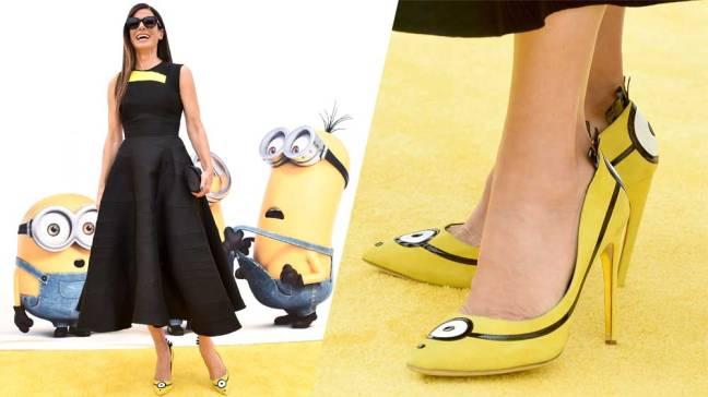 Sandra Bullock se rendeu a febre dos Minions na pré-estreia do filme